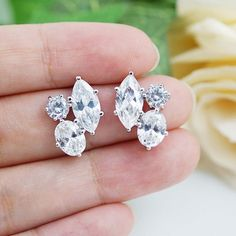Cubic zirconia trio Ear Posts for Brides and Bridesmaids - Earrings Nation