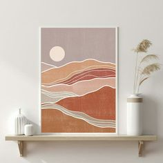 WOWprintdesign shared a new photo on Etsy - Abstract landscape Sun art Earth tones Rust Terracotta Burnt orange prints Boho decor Modern art pr - Minimal Art, Wallpaper Fofos, Wal Art, Boho Dekor, Modern Art Prints, Modern Wall Art, Wall Art Prints, Simple Prints, Wall Of Art