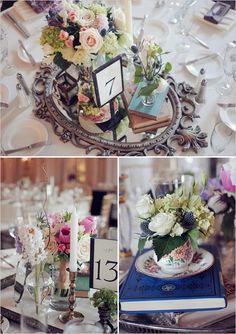 Centerpieces using vintage frames and glassware each table similar mirror and frame centerpiece bases like the idea of using frames for the bases junglespirit Gallery