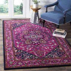 Safavieh Bellagio Handmade Bohemian Pink/ Navy Wool Rug (6' x 9') | Overstock.com Shopping - The Best Deals on 5x8 - 6x9 Rugs