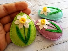 Felt Easter decoration – felt eggs / set of 3 – decorated with daffodil flower Listing is for 3 ornaments – green background ( light green ) – blue background ( aqua blue ) …