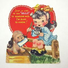 Vintage Over Sized Flocked Children s Novelty Valentine Greeting Card with  Cute Girl Old Fashioned Pen and Ink and Dog 1b5747f20631
