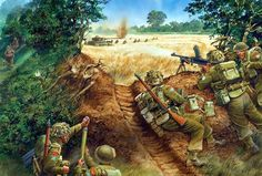 Bren - Солдаты подразделения канадской армии отражают атаку дивизии Гитлерюгенд войск СС на территории Нормандии, июнь 1944 года