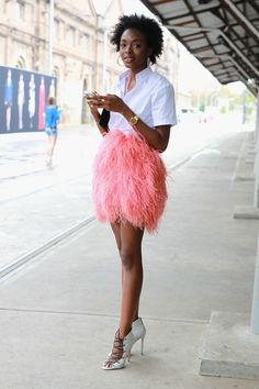 pink feathered skirt