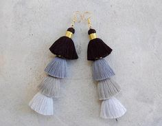 Four Tiered Ombre Grey Tassel Earrings