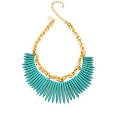 Kenneth Jay Lane Chain & Stick Necklace - Turquoise/Gold