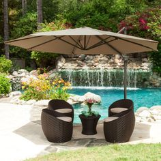 Nice Outdoors by Design Canopy with Fabric Canopy Umbrella feat Brown Wicker Rattan Bench complete with Wicker Rattan Coffee Table featuring Swimming Pool Area combine Concrete Walkway Material