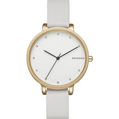 Skagen Hagen Leather Watch (205 CAD) ❤ liked on Polyvore featuring jewelry, watches, white, white wrist watch, white leather watches, white jewelry, leather watches and white watches