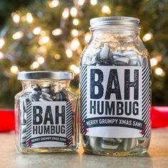 Sweeten your Scrooge with a jar of personalised sweets! | Personalised Jar Of Humbug Sweets - Bah Humbug | GettingPersonal.co.uk