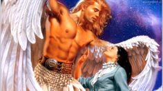 Mężczyzna, Anioł, Kobieta, Niebo