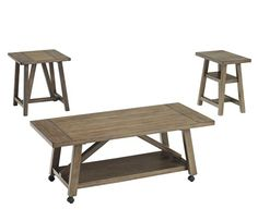 The Brinetta Casual Occasional 3-Piece Cocktail Set includes: Cocktail Table, End Table, and Chair-side End Table. Our Price: $449.