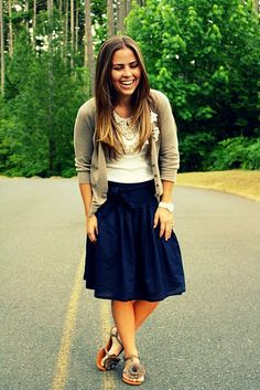 love the skirt and the navy/ brown combo
