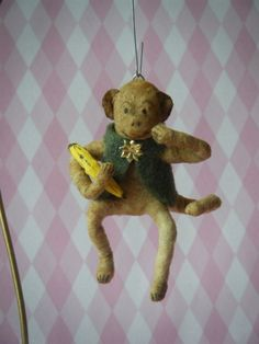 Antique Style Spun Cotton Monkey Ornament