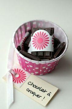 Mini tablettes de chocolat à offrir