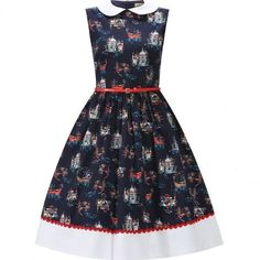 navy clio dress vintage style lindy bop dress with a sailor print peter pan collar & red belt Vintage Inspired Dresses, Vintage Style Dresses, Unique Dresses, Dress Vintage, Retro Outfits, Vintage Outfits, Vintage Fashion, Swing Dress, I Dress