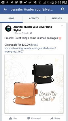 To view all my great products go to silvericing.com/jenniferhunter Silver Icing, Casual Chic, Stylists, Activities, Bags, Products, Handbags, Casual Chic Style, Dime Bags