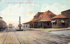 B O Railroad Station Washington PA Train Depot Pennsylvania Postcard 1909 | eBay