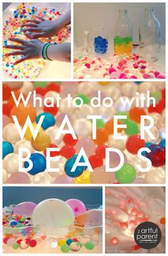 Wondering what to do with water beads? This post shares where to get water beads, how to hydrate them, and some of the fun things kids can do with them, including lots of ideas for sensory play and learning. via Artful Parent Sensory Tubs, Sensory Activities, Sensory Play, Learning Activities, Preschool Activities, Sensory Rooms, Indoor Activities, Summer Activities, Family Activities