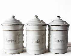 ELEGANT Set of 3 LARGE White and gold with relief french ENAMEL Canisters 1900. $120.00, via Etsy.