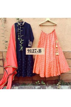 Bollywood Inspired  - Designer Navy Blue & Orange Lehenga Suit - 9127-B Orange Gown, Orange Lehenga, Pakistani Dresses, Indian Dresses, Indian Outfits, Indian Fashion Trends, Ethnic Fashion, Lehenga Style, Lehenga Suit