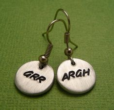 Grr Argh  A Pair of Hand Stamped Aluminum by chasingatstarlight, $13.95