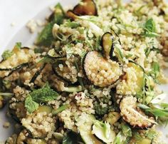 Quinoa salad w/ mint. Needs less SALT! Everyone will love the combination of flavors and textures in this vegan quinoa salad: garlicky sauteed zucchini, delicate scallions, crunchy roasted pistachios, and fragrant fresh mint. Zucchini Quinoa, Sauteed Zucchini, Healthy Zucchini, Eat Healthy, Quinoa Salad Recipes, Vegetarian Recipes, Healthy Recipes, Baking Recipes, Wok