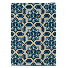 """Inspired by traditional Turkish design, the Caspian Indoor/Outdoor Rug offers timeless style. The medallion print blends an ocean palette into chic harmony, perfect for your breakfast nook, veranda, or porch......for the """"Aunt MV bedroom"""".(6'x9"""" rug)"""