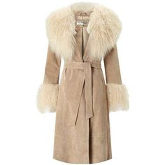 Tan Suede Mongolian Faux Fur Coat ($220) ❤ liked on Polyvore featuring outerwear, coats, miss selfridge coats, beige coat, suede leather coat, tan coat and faux fur coats