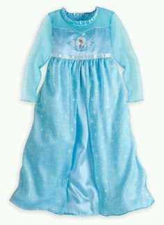 Disney Store Frozen Elsa Deluxe Nightgown Dress  Pajamas PJs Costume all sizes #DisneyStore #Nightgown