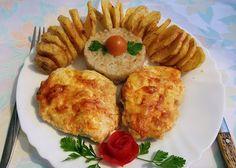 Rozi erdélyi,székely konyhája: Sajtos-tejfölös csirkemell Baked Potato, Potatoes, Meat, Chicken, Baking, Ethnic Recipes, Food, Red Peppers, Potato