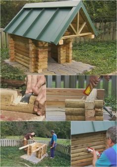 Lovely Log Cabin - 15 Brilliant DIY Dog Houses With Free Plans For Your Furry Companion