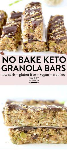 Keto granola bars - no bake hemp seed bars - Sweetashoney - KETO GRANOLA BARS – easy chewy no-bake hemp seeds bars 100 % Nut Free + Grain Free + Vegan with o - Granola Barre, No Bake Granola Bars, Vegan Granola, Grain Free Granola, Granola Protein Bars, Nut Free Granola Recipe, Keto Protein Bars, Keto Bars, Protein Bar Recipes
