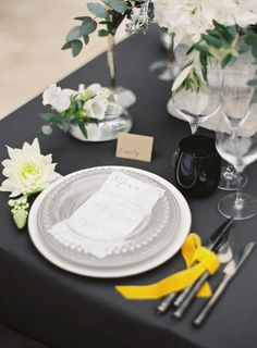 Gray table inspiration: http://www.stylemepretty.com/little-black-book-blog/2015/05/05/posh-grey-gold-provencal-wedding-inspiration/ | Photography: Greg Finck - http://www.gregfinck.com/