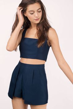"Search: ""Kehlani Navy Two Piece Romper Set"" on Tobi.com now! 2 piece two-piece outfit co-ord co ord crop top shorts pleated navy midnight blue shorts unique special square neck cami thick straps"