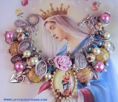 Catholic Virgin Mary OL Mercy, Saints Religious Medals Charm Bracelet www.letyscreations.com