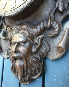 Antique Wooden Art Wall Clock Devil Satyr by VintageArtDesignShop