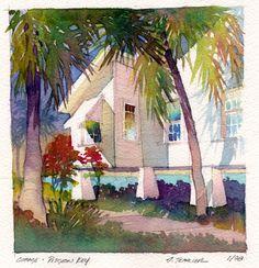 cottage - pigeon key by Thomas W Schaller Watercolor ~ 13 inches x 13 inches Watercolor Pictures, Watercolor Artists, Watercolor Landscape, Watercolor And Ink, Landscape Art, Watercolor Flowers, Landscape Paintings, Watercolor Paintings, Watercolours
