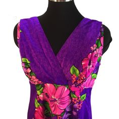 """Purple Pink Hibiscus Panel Hawaiian Maxi Dress M Vintage Skirts N Blouses Specialty ShopHonolulu Purple Pink Tropical Hibiscus Plumeria Panel Maxi Dress with a beautiful waterfall back (interior tie to cinch waist if desired).   ✂------measurements------- (all taken with the garment laying flat)  Chest 19"""" Shoulder to the Hem 53-1/3"""" Waist 16-1/2"""" Armhole 8-3/4"""" Sweep 39-1/2"""" across at hem Fabric is not tagged but feels like a rayon barkcloth Skirts n Blouses Honolulu Dresses Maxi"""