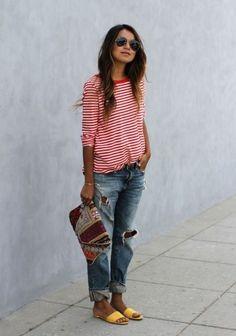 Maglia a righe e jeans boyfriend