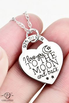 I Love You to the moon and back 925 Sterling Silver heart necklace #necklace #moon #jewelry #iloveyou #iloveyoutothemoonandback