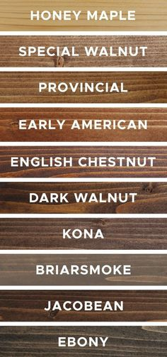 10 favorite wood stain colors and what they actually look like on real wood samples and projects! Each of these rustic wood stain colors are easy to find and purchase and budget friendly too! wood stain 10 Favorite Wood Stain Colors - Angela Marie Made Minwax Stain Colors, Varathane Stain, Wood Floor Stain Colors, Diy Wood Stain, Stain On Pine, Wood Colors, Pine Stain Colors, Minwax Wood Stain, Exterior Wood Stain Colors