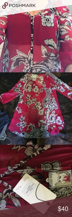 Top Yoana Baraschi long tunic blouse.  Gorgeous red background with gray and black floral print.  Perfect for spring.  Never worn.  Like new! Yoana Baraschi Tops Blouses