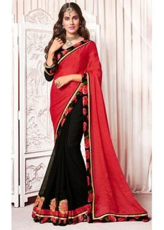 Party Wear Red & Black Satin Saree  - 73370
