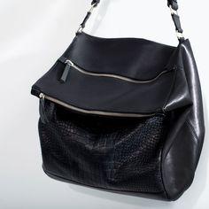 ZARA - SHOES & BAGS - ZIP APPLIQUE LEATHER BUCKET BAG 2014