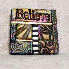Believe MiniMosaic Polymer Clay Tile Lapel Pin by ashpaints