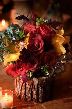 déco avec du bois et des fleurs
