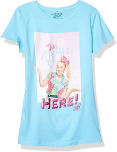 JoJo Siwa Girls J6SS216-3710 The Party's Here! Short Sleeve Tee Short Sleeve T-Shirt - Blue: Amazon.com.au: Fashion Jojo Siwa Outfits, Presents For Girls, Big Party, Girls 4, Girl Model, Printed Tees, Short Sleeve Tee, The Ordinary, Style Inspiration