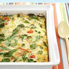 Garden Veggie Egg Bake Recipe - lots o' veggies, no carbs. Just made this. It's excellent. I used all real eggs.