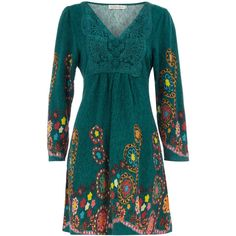 Turquoise floral print dress, found on polyvore.com