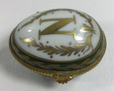 Limoges Hand Painted Egg Shaped Trinket Box Hinged Cover - Green White Gold N